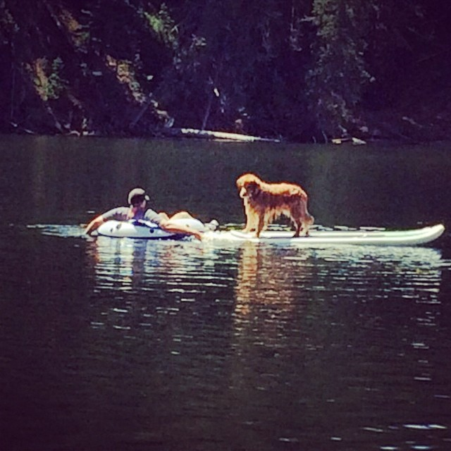 Paddle-boarding in mountain lakes